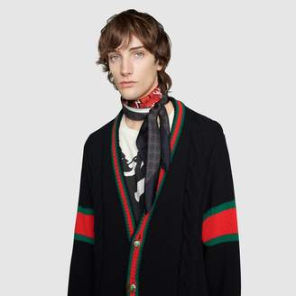 Gucci GG silk carre with wolf