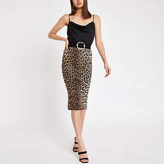 River Island Brown leopard print pencil skirt