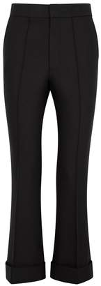 Helmut Lang Black Cropped Flared Cady Trousers