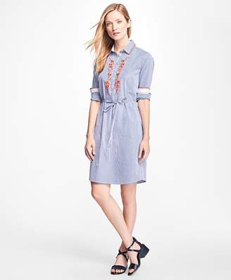 Cotton-Poplin Embroidered Shirtdress $98 thestylecure.com
