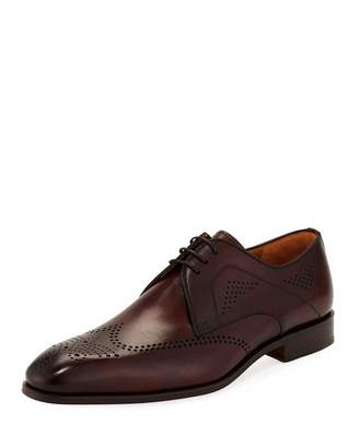 Magnanni for Neiman Marcus Hand-Antiqued Perforated Wing-Tip Oxford