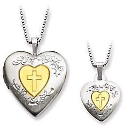 QVC Sterling Gold-Plated Heart Locket & Child's Pen dant Set