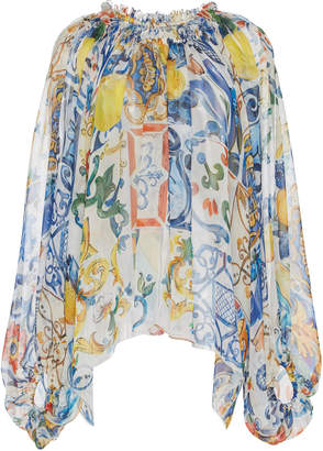 Dolce & Gabbana Maiolica Printed Long Sleeve Blouse