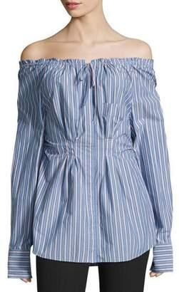 Tibi Garcon Off-the-Shoulder Striped Shirred Poplin Top