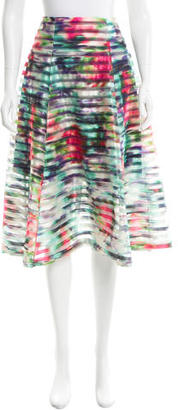 Nanette Lepore Mesh-Trimmed Midi Skirt w/ Tags $130 thestylecure.com