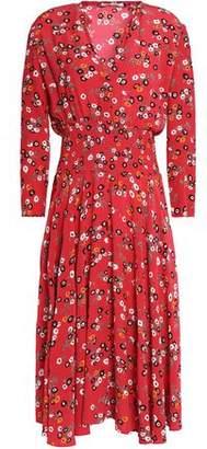 Maje Pleated Floral-Print Crepe De Chine Dress