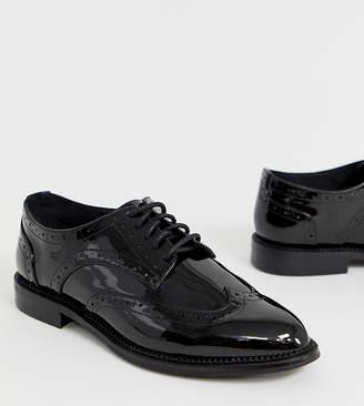 fd5944db97 Asos Design DESIGN Wide Fit More flat brogues in black