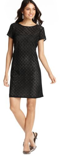 LOFT Petite Lace Short Sleeve Shift Dress