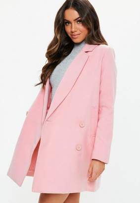 Missguided Pink Double Breasted Formal Coat, Rose