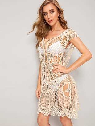 Shein Solid Drop Armhole Guipure Lace Cover Up