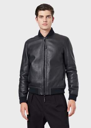 Emporio Armani Shearling Bomber With Curly Merino Wool On The Inside