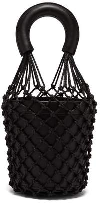 STAUD Moreau Macrame And Leather Bucket Bag - Womens - Black