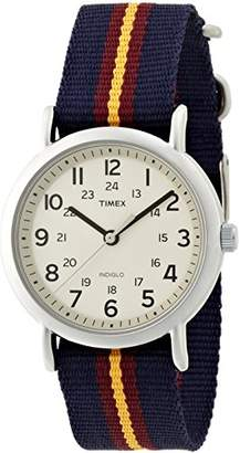 Timex Weekender Unisex Quartz Watch with Beige Dial Analogue Display and Blue Fabric Strap T2P234D7