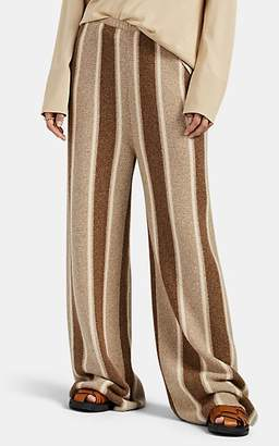 The Row Women's Culotta Striped Cashmere-Silk Wide-Leg Pants - Brown Pat.
