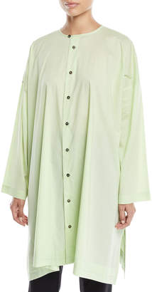 eskandar Round-Neck Long-Sleeve Wide A-Line Shirt w/ Pleated Edge Detail