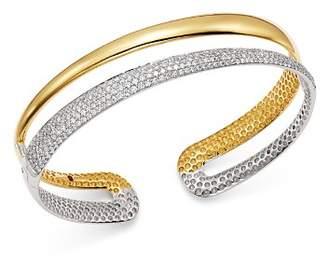 Roberto Coin 18K White & Yellow Gold Scalare Half Pavé Diamond Kick Cuff