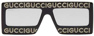 Gucci Black Strass Logo Sunglasses