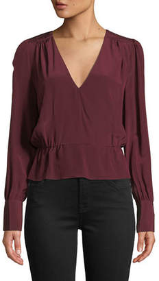 f0780120b9b18b 7 For All Mankind Deep V Long-Sleeve Silk Peplum Top
