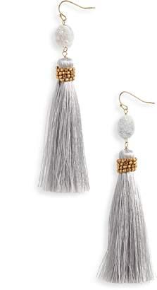 Panacea Tassel Drusy Drop Earrings