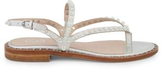 Ash Faux-Pearl Leather Stacked-Heel Sandals