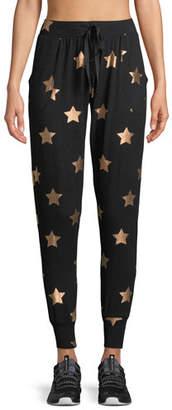 Terez Star-Print French Terry Jogger Pants