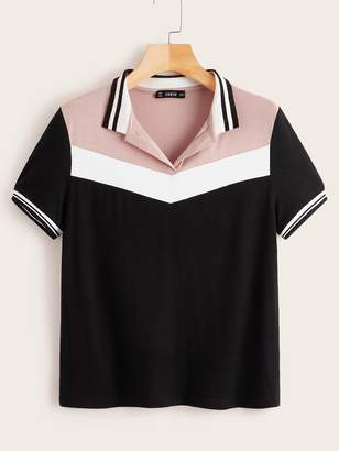 Shein Cut-and-sew Striped Polo Shirt