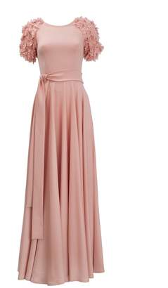 Emelita - Rose Sleeves Decorated Flowers Dress