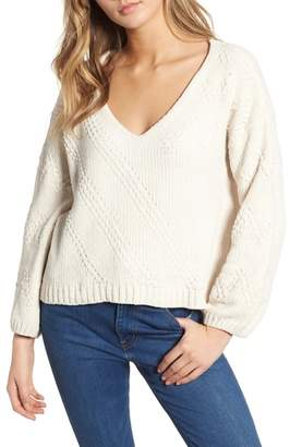 Cotton Emporium Chenille Plunging Sweater