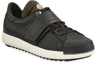 Moncler Men's Arnoux Leather Grip-Strap Sneakers, Charcoal