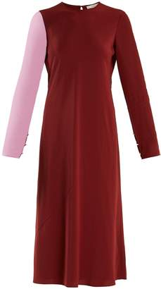 Tibi Bi-colour contrast-sleeve silk-georgette dress