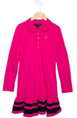 Ralph Lauren Girls' Collared Long Sleeve Dress
