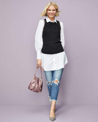 Marled By Reunited Button-Down Poplin Tunic Top
