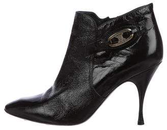 Celine Patent Leather Pointed-Toe Ankle Boots