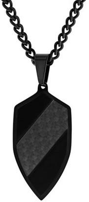 Unbranded Mens Stainless Steel Black Heater Shield Pendant