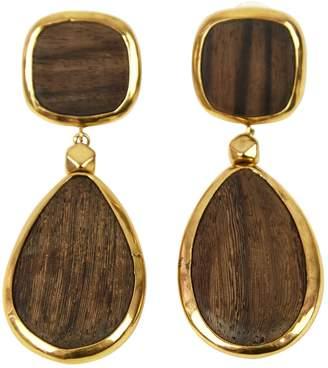 Oscar de la Renta Brown Wood Earrings