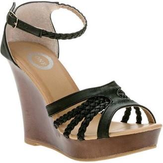One Women's Open Toe Braided Wedge Sandal