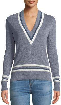 Veronica Beard Walton V-Neck Long-Sleeve Melange Sweater