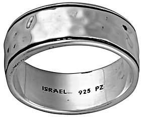 Or Paz Sterling Men's Hammered Band Ring w/ Border