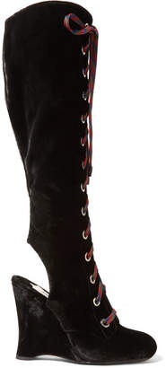 Prada Lace-up Velvet Wedge Knee Boots - Black