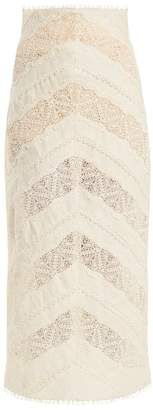 Zimmermann Painted Heart Chevron Panelled Lace Linen Skirt - Womens - Cream