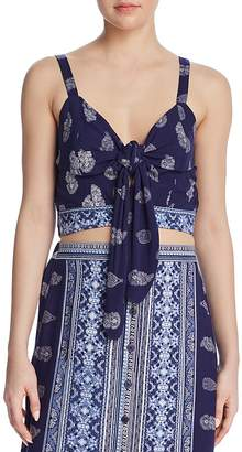 Band of Gypsies Bandana-Print Tie-Front Cropped Top