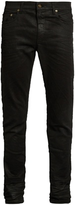 SAINT LAURENT Coated skinny jeans $590 thestylecure.com