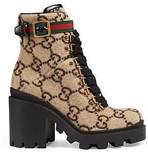 Gucci Women's Trip GG Wool Combat Boots