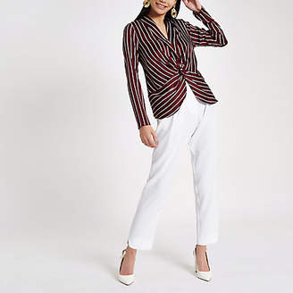 River Island Red stripe twist front long sleeve top