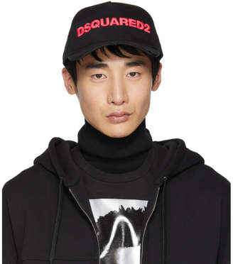 DSQUARED2 Black and Pink Logo Baseball Cap