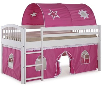 LOFT Alaterre Addison White Junior Bed, Pink and White Tent and Playhouse with White Trim