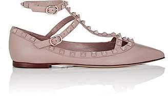 Valentino Women's Rockstud Leather Ankle-Strap Flats - Nudeflesh
