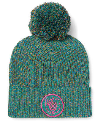 Loewe Eye Nature Melange Cotton-Blend Beanie - Men - Green