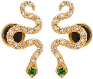Diamond, yellow-gold & tsavorite snake earrings