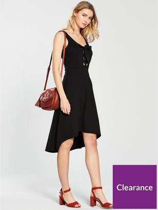 Very Large Eyelet Hi Lo Jersey Dress - Black